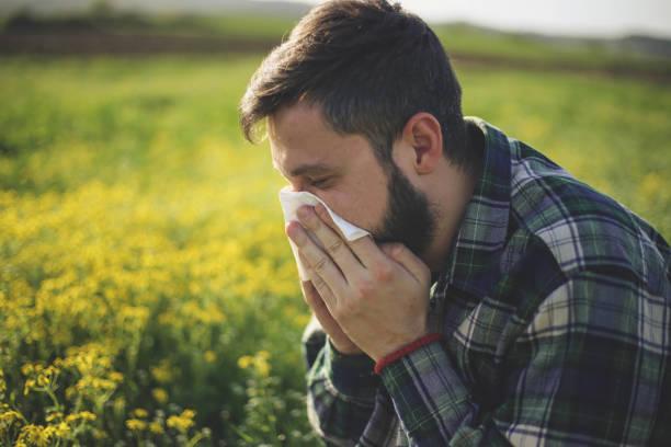 hipster mann sneezing - heuschnupfen stock-fotos und bilder