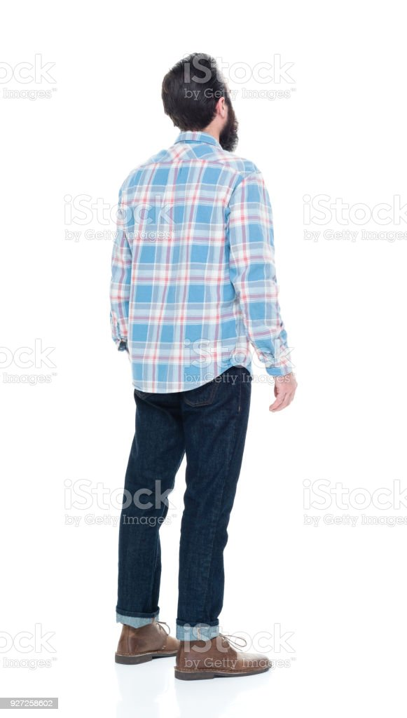 Hipster man with a blue shirt stock photo