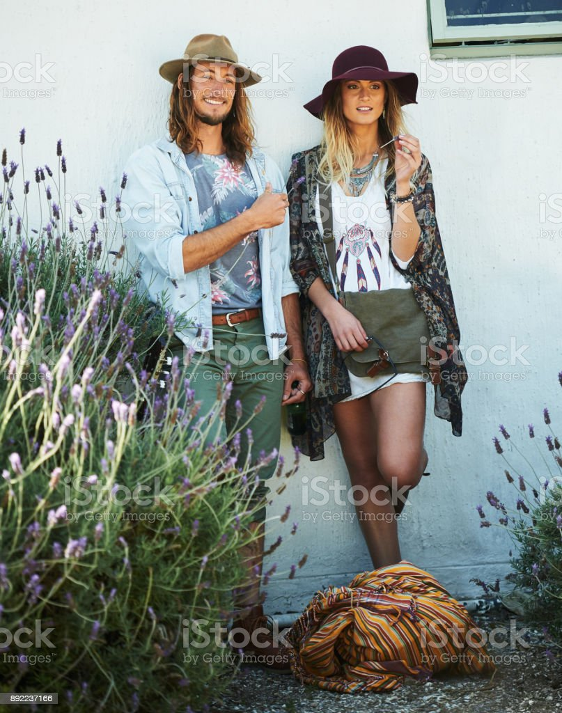 Hipster Mr and Mrs stock photo