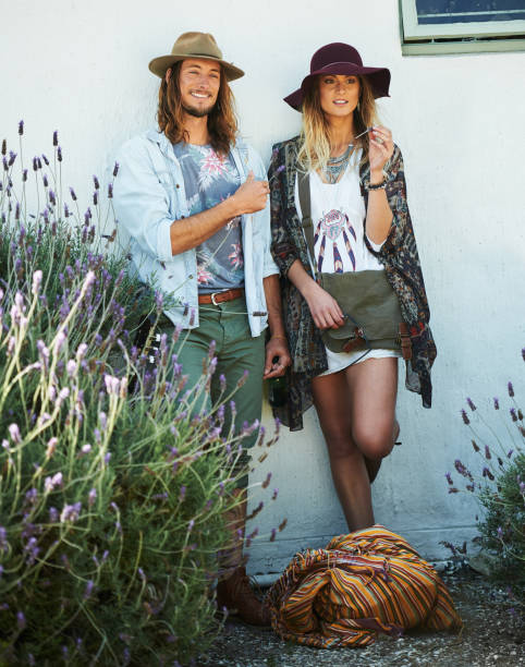 hipster mr and mrs - hippie fashion stock photos and pictures