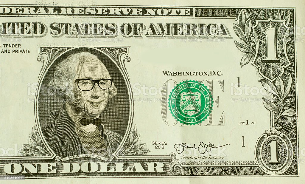 Hipster Nerd George Washington stock photo