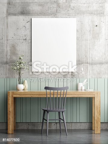 istock Hipster office desk with mock up poster 814077520