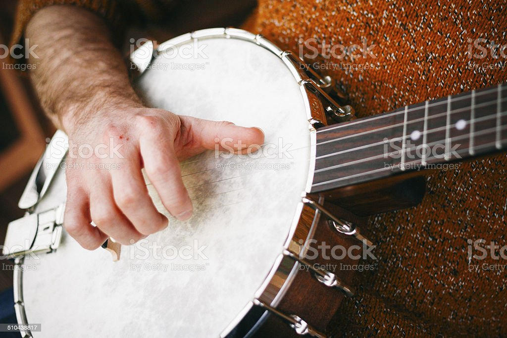Hipster Playing Banjo stock photo