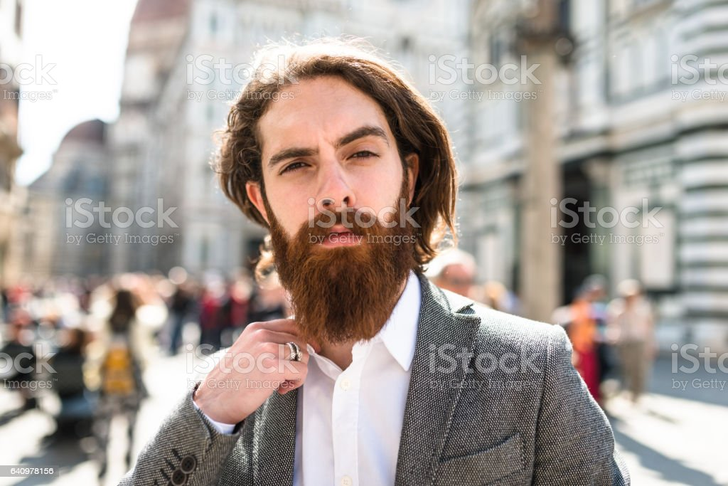 hipster portrait with long beard stock photo