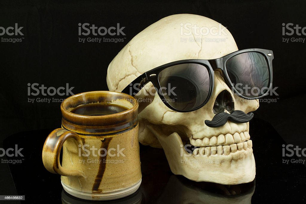 Hipster Skull and Coffee stock photo