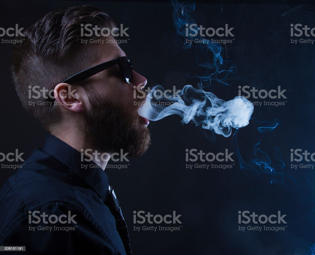 hipster smoker stock photo