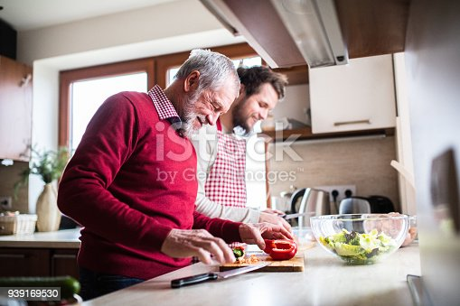 istock Hipster son with his senior father cooking in the kitchen. 939169530