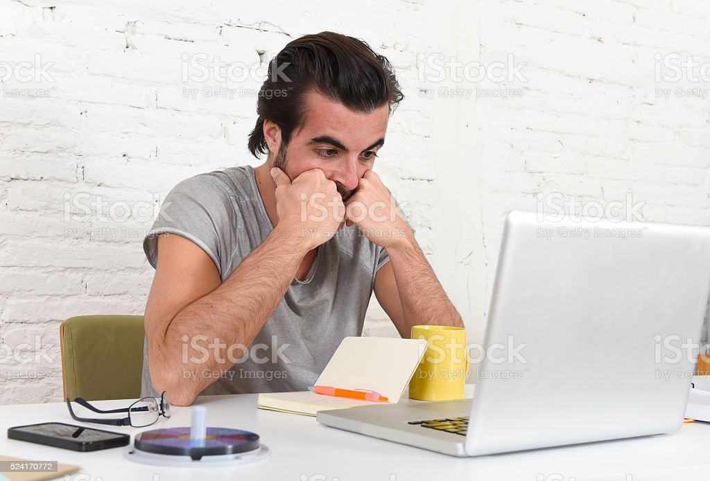 hipster student or businessman working in stress at home office - Royalty-free Adult Stock Photo