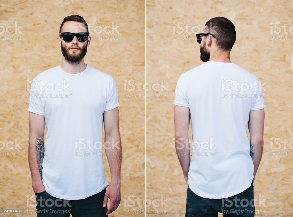 0fc2a6688171 Hipster wearing white blank t-shirt with space for your logo royalty-free  stock