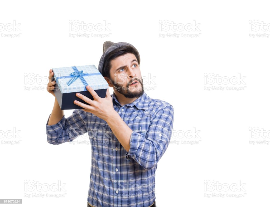 Hipster with gift box stock photo