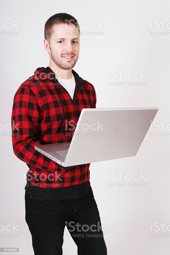 Hipster with laptop royalty-free stock photo