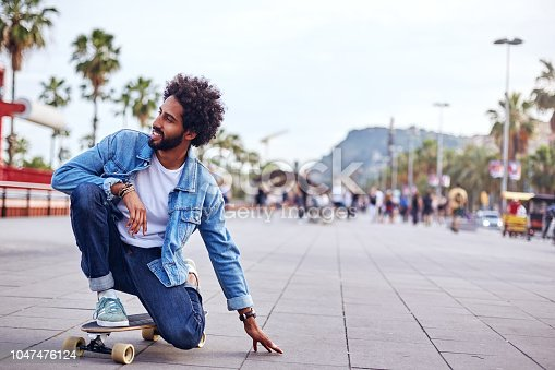Hipster in the streets of Barcelona. Lifestyle. City life concepts.