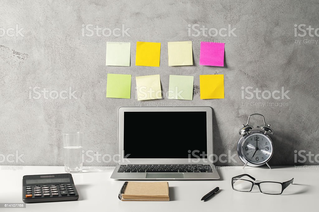 Hipster workspace stock photo