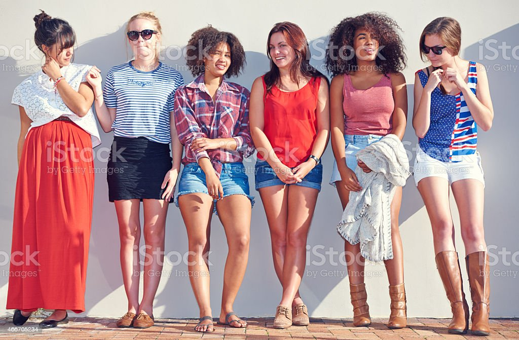 Hipsters in a row stock photo