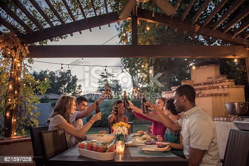 istock Hipsters Toasting at a Summer Backyard BBQ 621597028