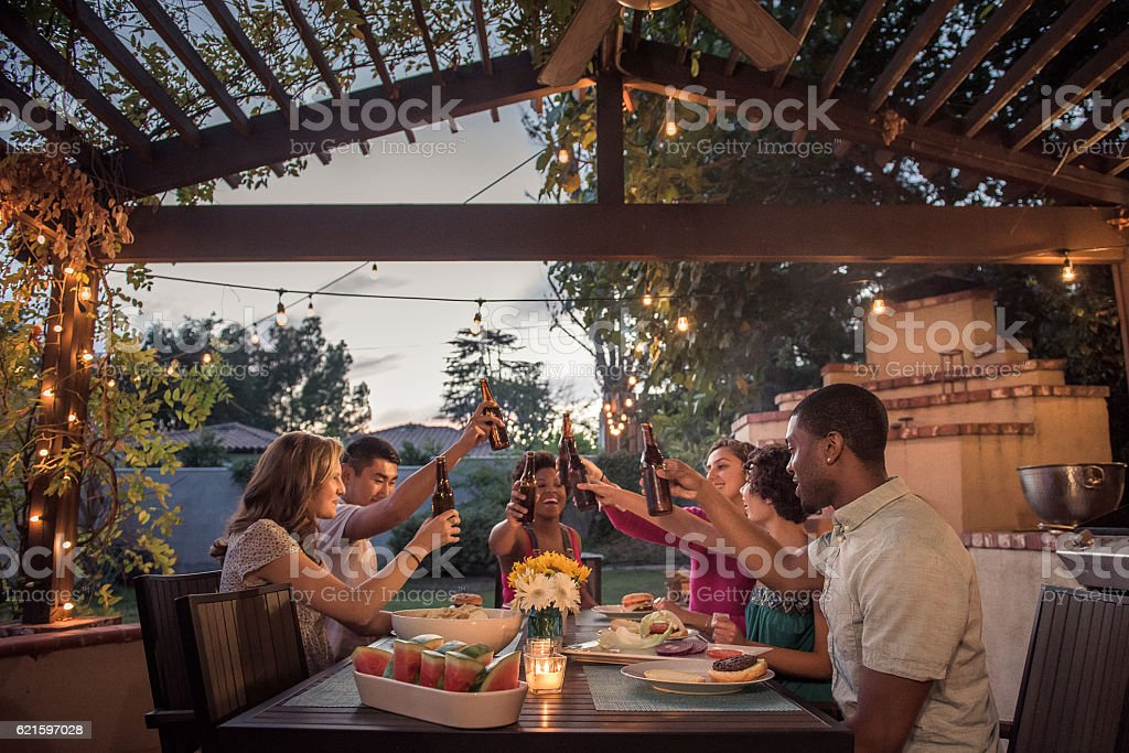 Hipsters Toasting at a Summer Backyard BBQ stock photo