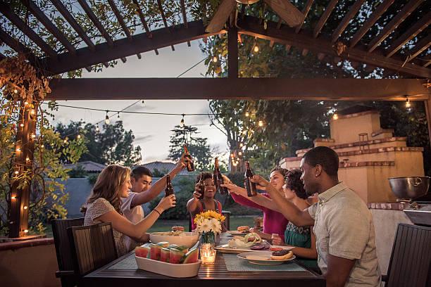 Hipsters Toasting at a Summer Backyard BBQ stock photo