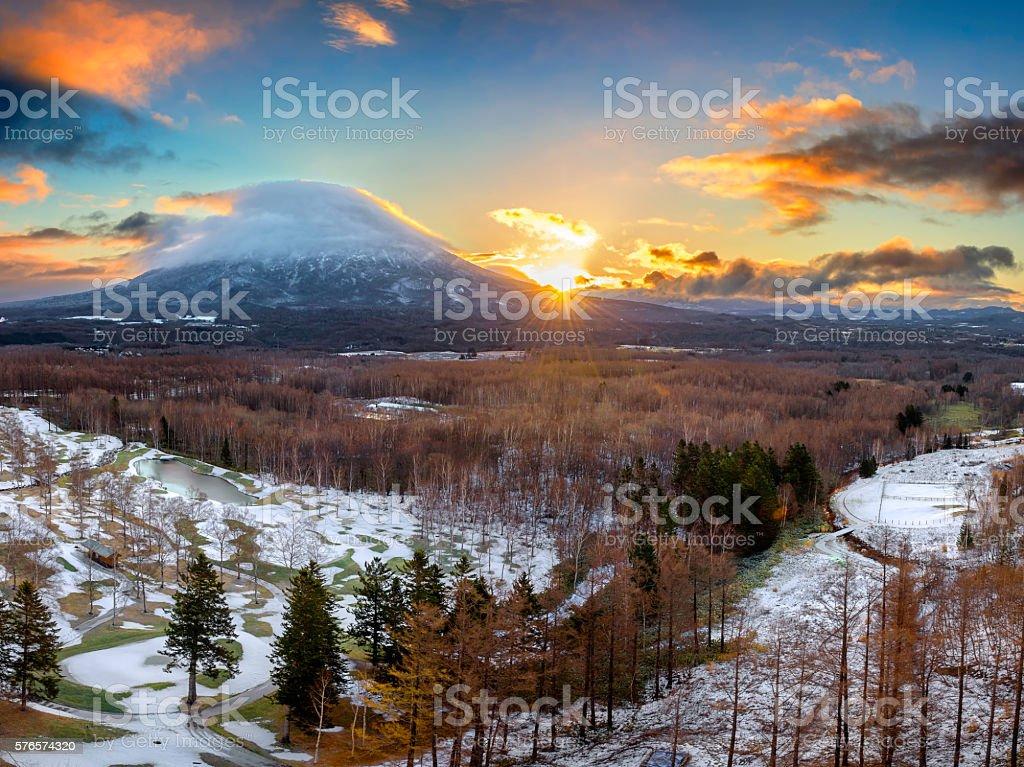 Hirafu, Niseko and Mount Yotei in Hokkaido, Japan stock photo