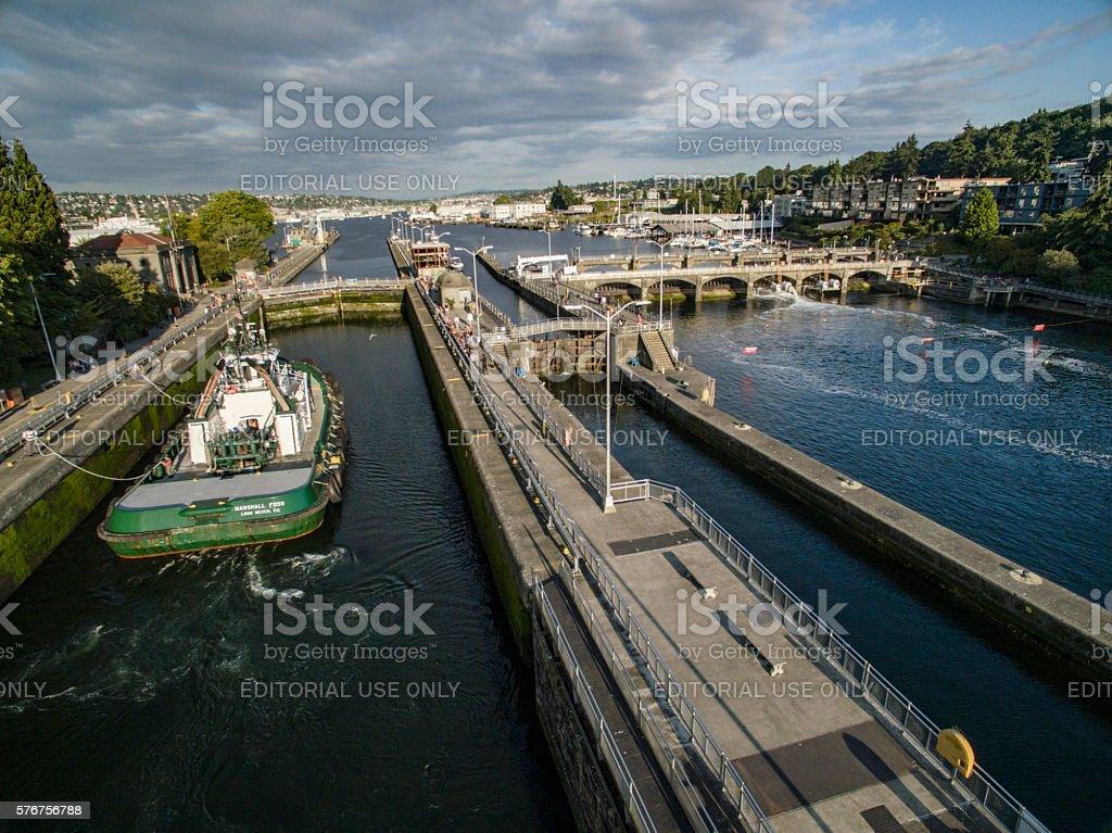 Hiram M. Chittenden Locks in the Ballard Neighborhood of Seattle stock photo