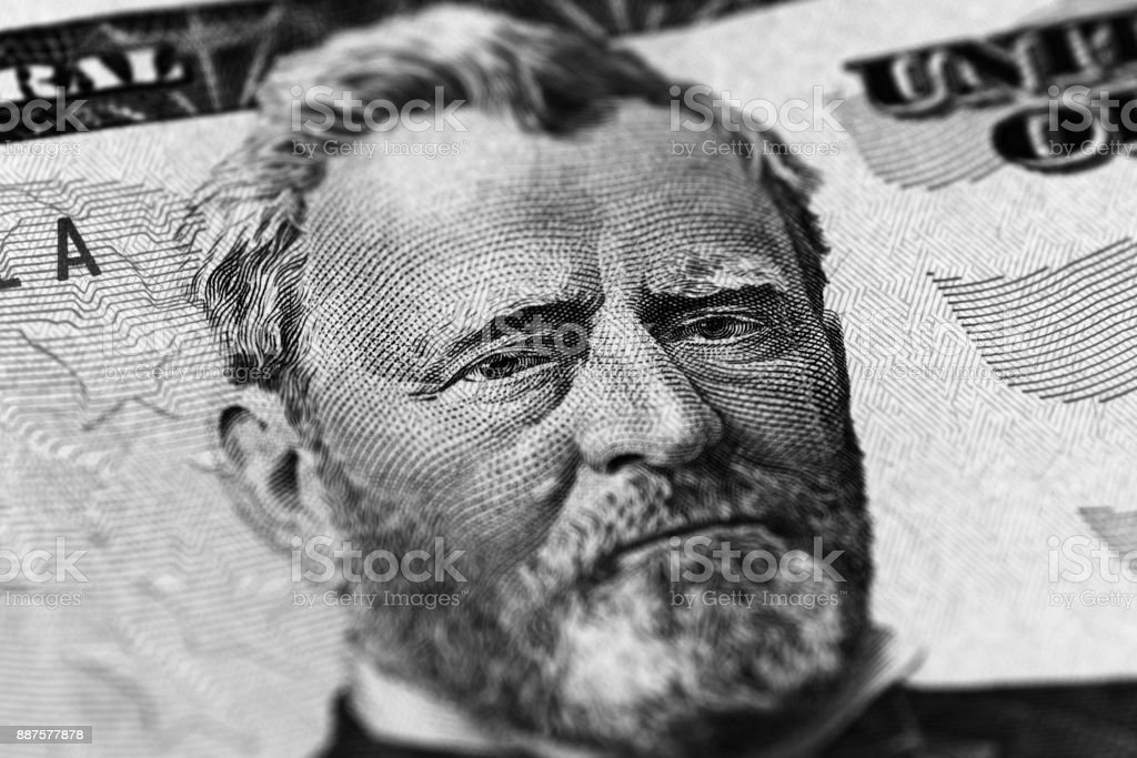 Hiram Ulysses Grant portrait from us 50 dollars. stock photo