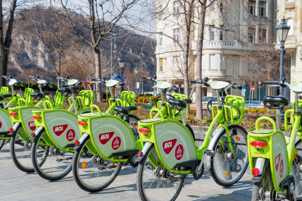 Hire a bike in Budapest, Hungary stock photo