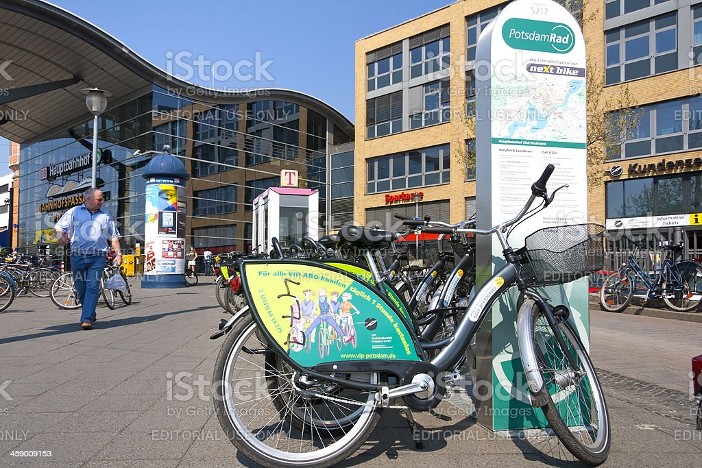 Hire bikes for tourists in Potsdam stock photo
