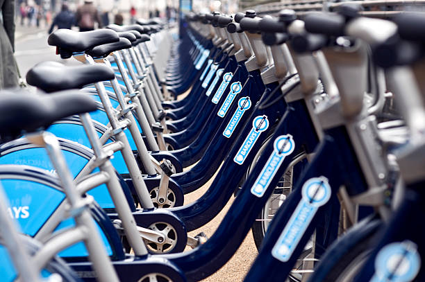 Hire bikes stock photo