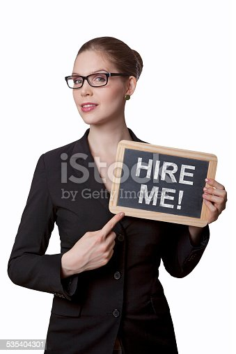 Busines woman holding black board with