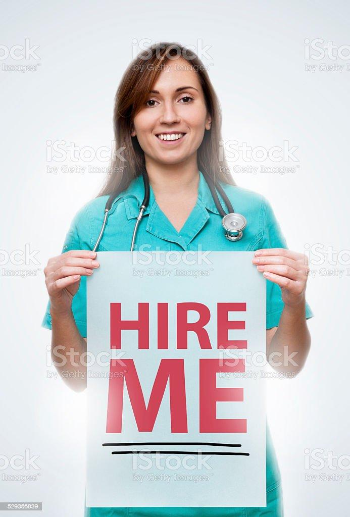 Hire me / Nurse (Click for more) stock photo