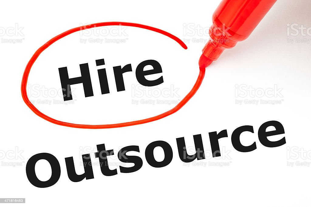 Hire or Outsource with Red Marker royalty-free stock photo