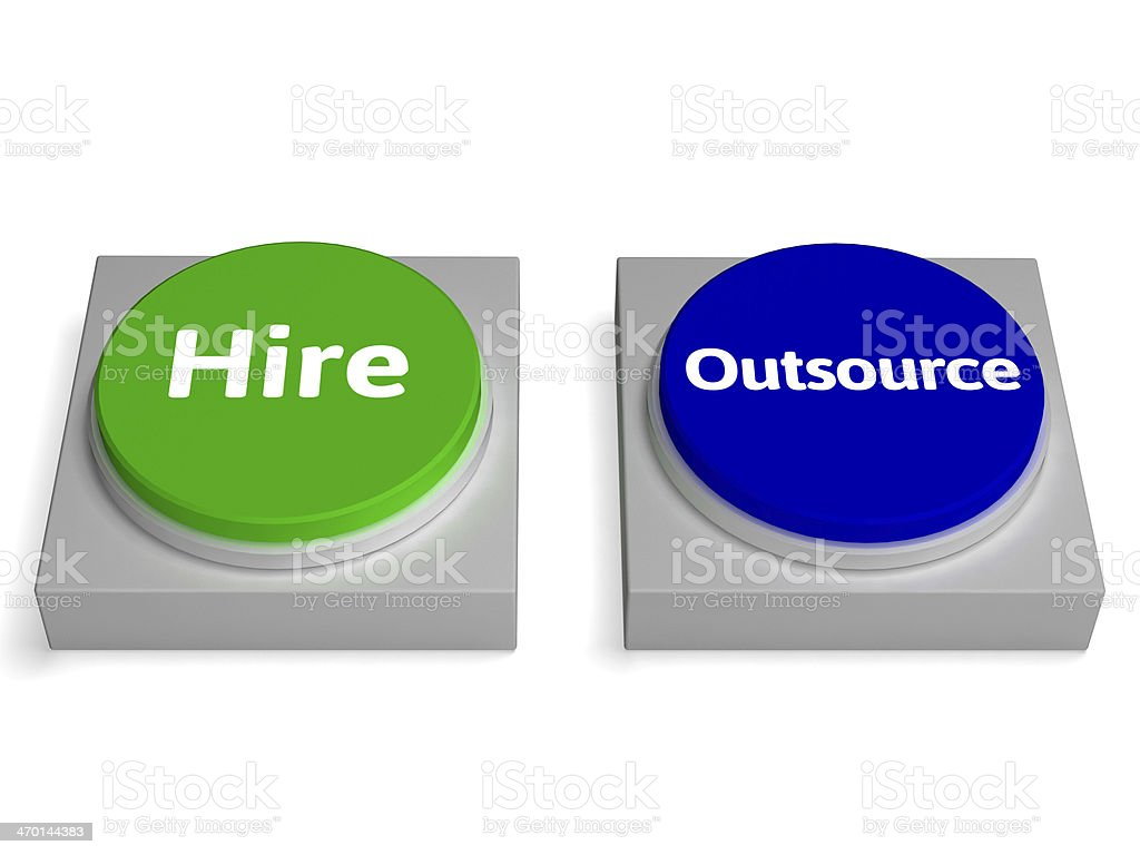 Hire Outsource Button Shows Hiring Or Outsourcing royalty-free stock photo