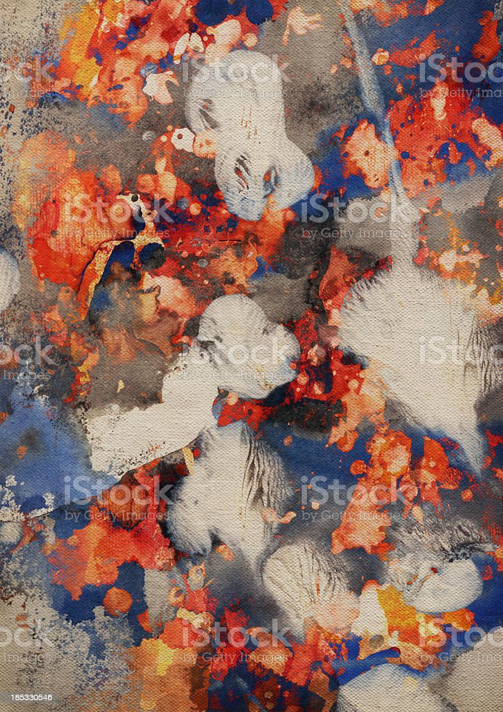 Hi-Res Abstract Acrylic and Oil Painting on Primed Cotton Canvas royalty-free stock photo