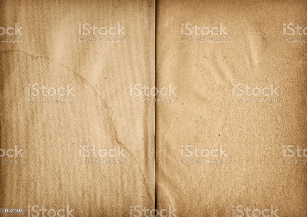 Hi-Res Antique Book Opened Stained Crumpled Blank Pages royalty-free stock photo