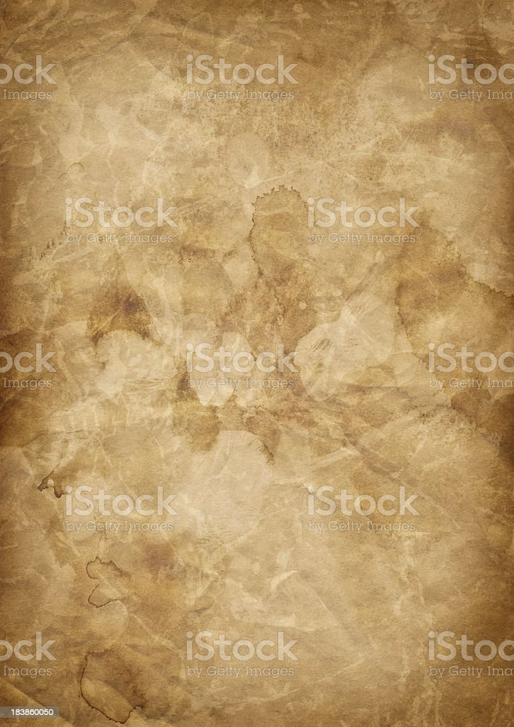 Hi-Res Antique Brown Kraft Paper Crushed Mottled Vignette Grunge Texture royalty-free stock photo