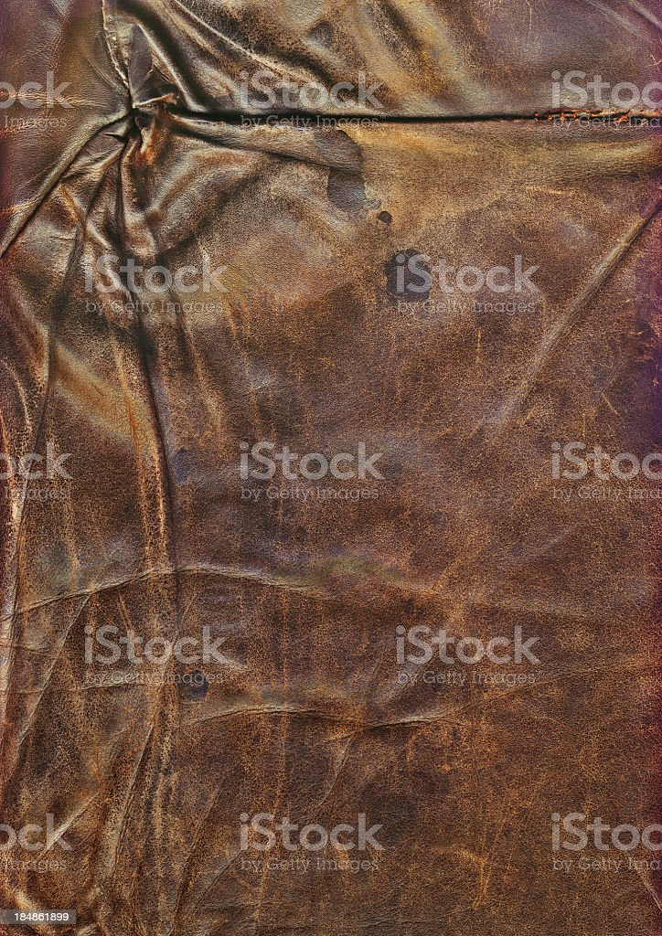 Hi-Res Antique Brown Veal Leather Patchwork Wrinkled Wizened Grunge Texture royalty-free stock photo
