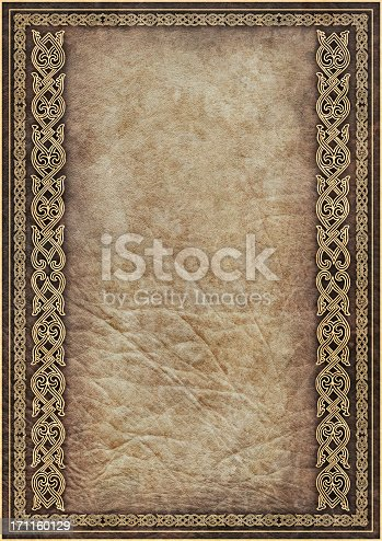 istock Hi-Res Antique Parchment with Medieval Gilded Arabesque Linear Decorative Motif 171160129