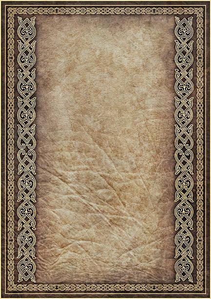 Hi-Res Antique Parchment with Medieval Gilded Arabesque Linear Decorative Motif stock photo