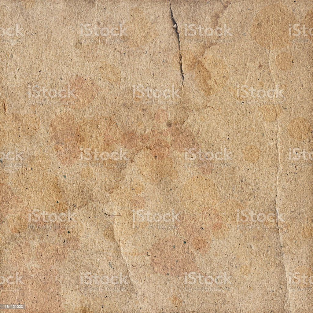 Hi-Res Antique Recycled Brown Kraft Paper Blotted Dappled Grunge Texture royalty-free stock photo