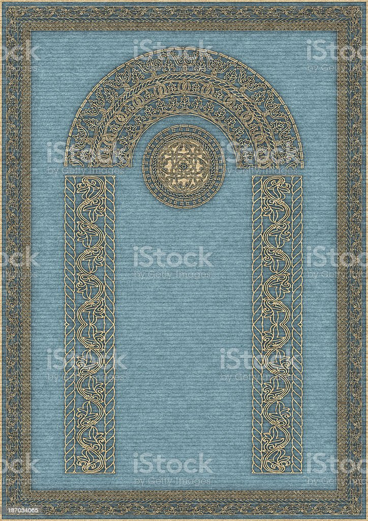 Hi-Res Arabesque Decorative Gilded Medieval Motif on Blue Striped Paper royalty-free stock photo