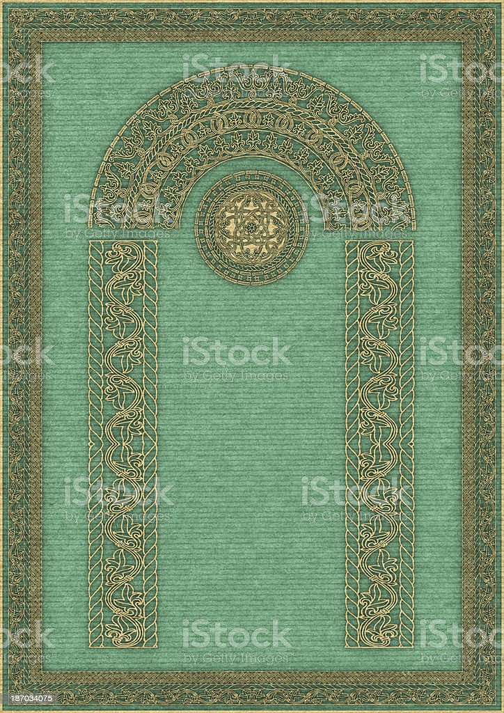 Hi-Res Arabesque Gilded Medieval Decorative Motif on Green Striped Paper royalty-free stock photo