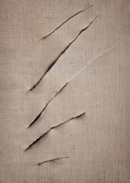 Hi-Res Artist's Primed Linen Canvas Cut Surface Vignette Grunge Texture stock photo