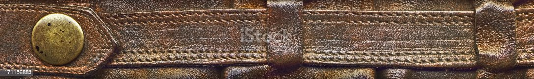 istock Hi-Res Brown Leather Boot Shaft Strap with Brass Button Detail 171156883