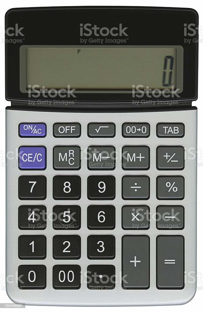 Hi-res calculator with clipping path on white background royalty-free stock photo