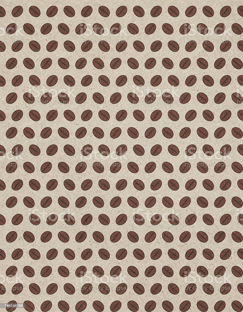 Hi-Res Coffee Beans Seamless Pattern on Beige Recycled Paper Background royalty-free stock photo