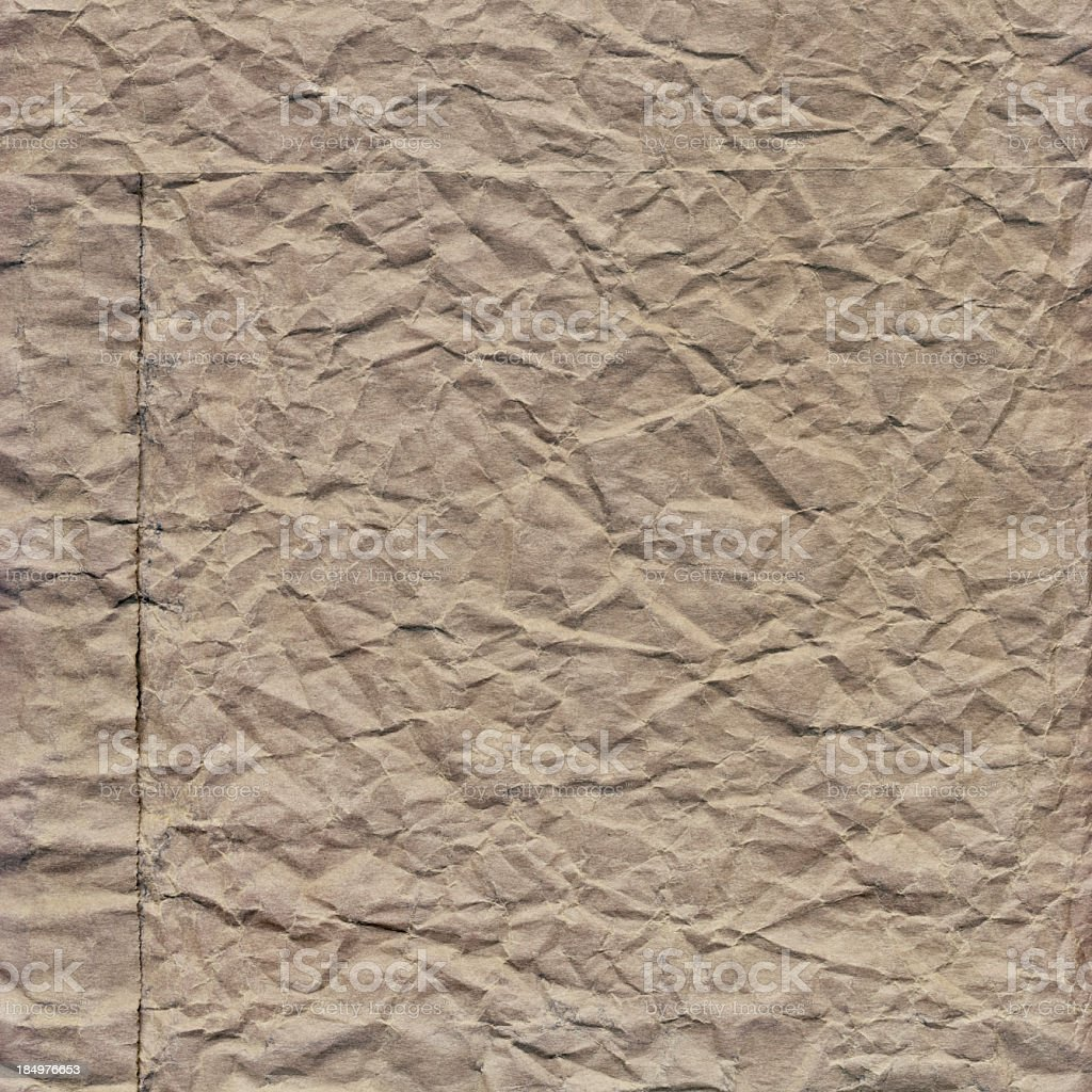 Hi-Res Old Beige Paper Grocery Bag Crushed Grunge Texture royalty-free stock photo