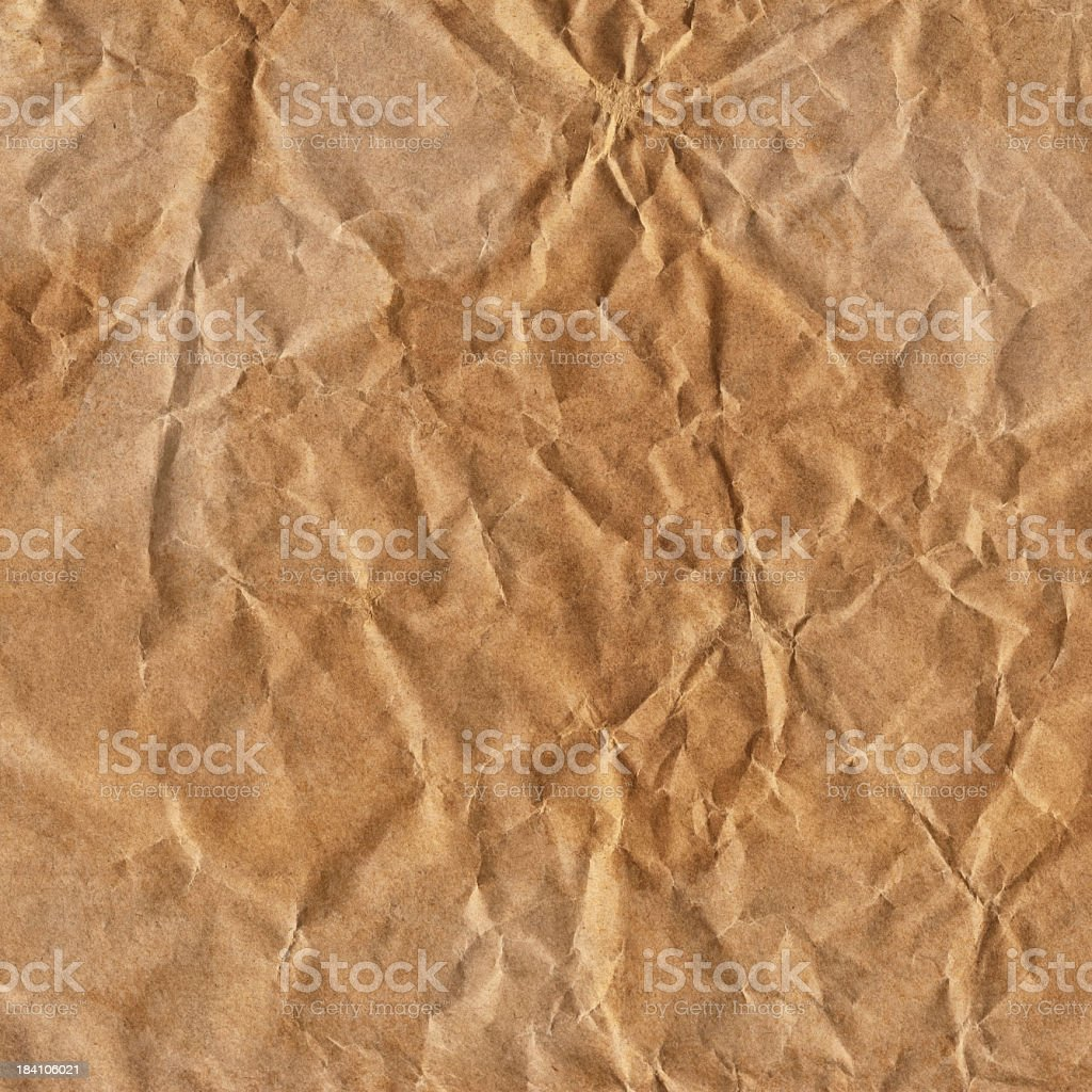 Hi-Res Old Brown Kraft Wrapping Paper Crushed Crumpled Grunge Texture royalty-free stock photo