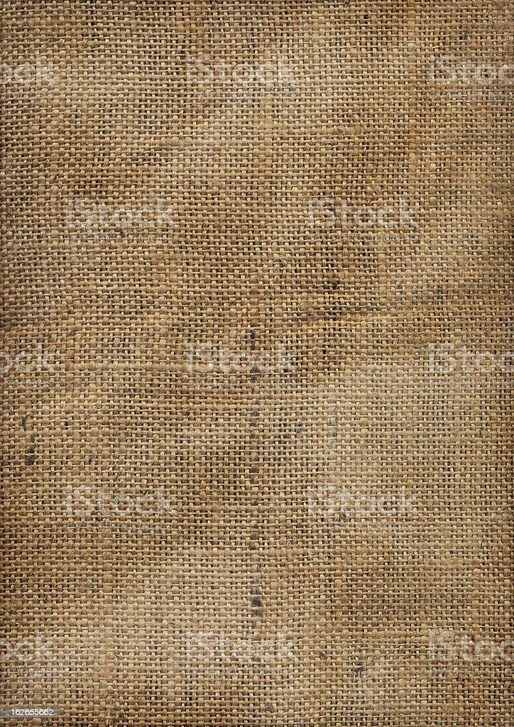 Hi-Res Old Coarse Wrinkled Burlap Fabric Vignette Grunge Texture royalty-free stock photo