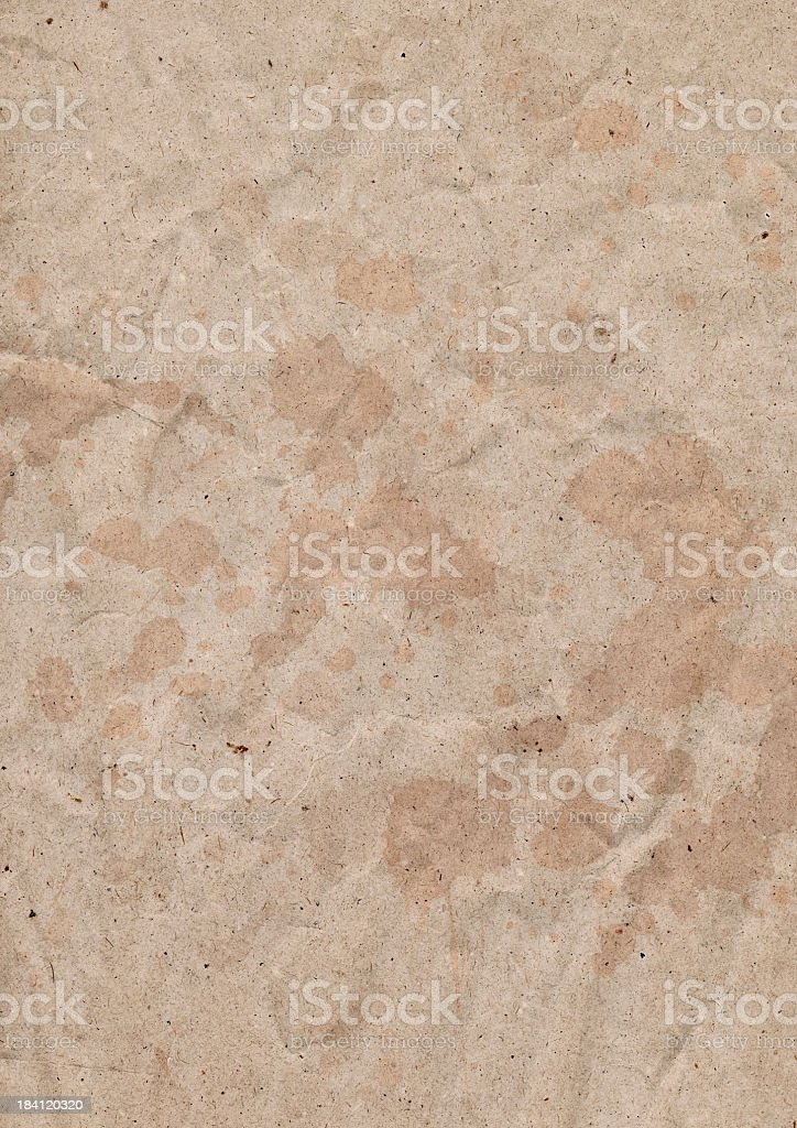 Hi-Res Old Recycled Brown Kraft Paper Crumpled Dappled Grunge Texture royalty-free stock photo