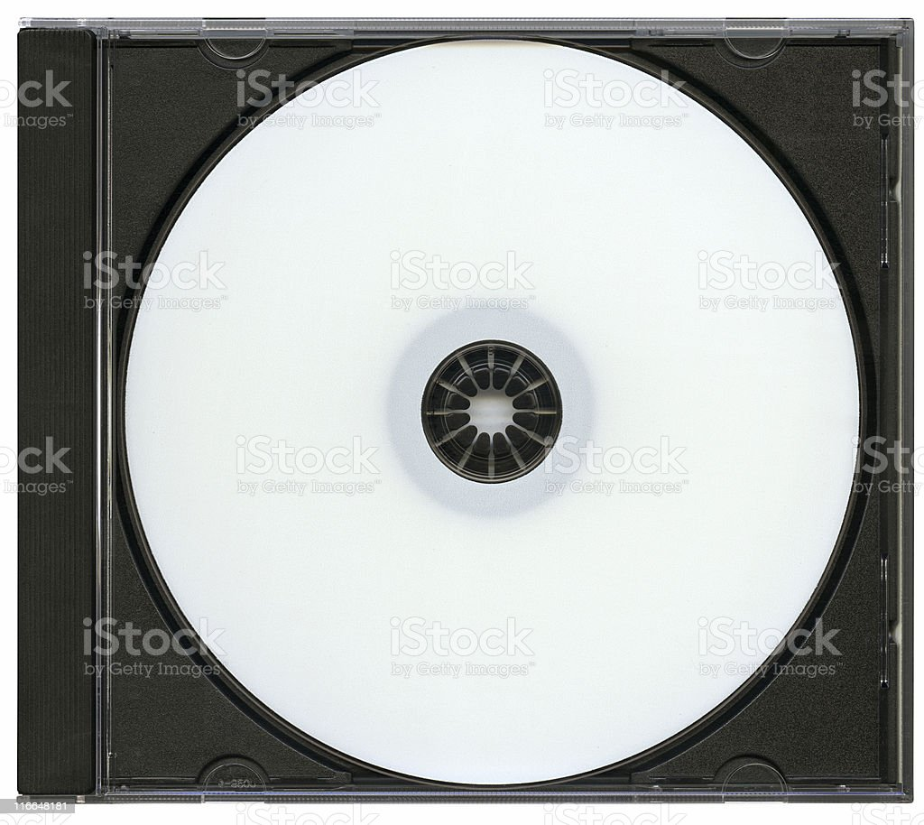 Hi-res optical disk in box, isolated with clipping path stock photo