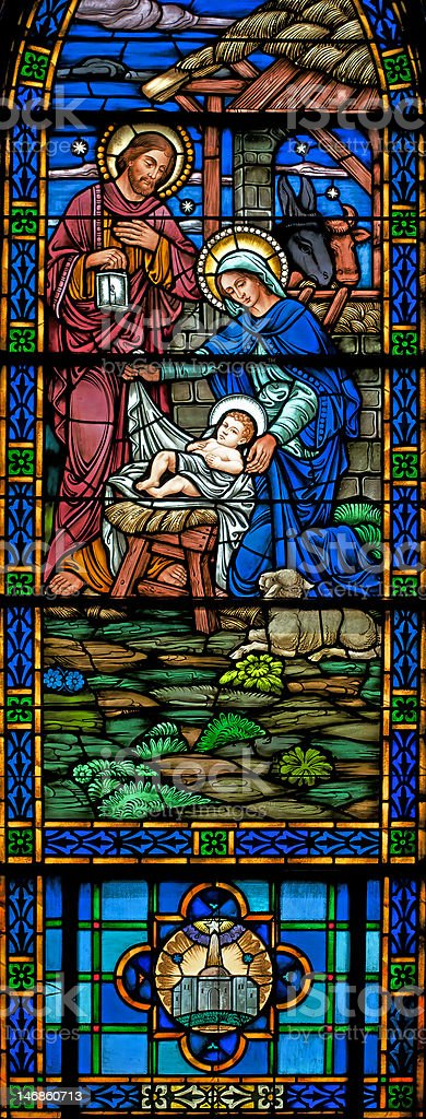 Hi-Res Panoramic  Stained Glass Window of Nativity stock photo